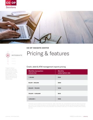 CO-OP Insights Center Pricing Features