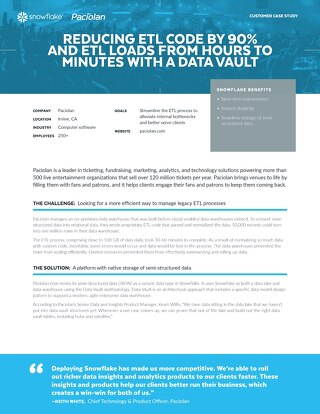 Paciolan: Reducing ETL Code by 90% and ETL Loads from Hours to Minutes with a Data Vault
