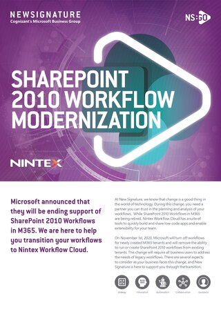 NS:GO SharePoint 2010 Workflow Modernization 2020 Flyer Nintex