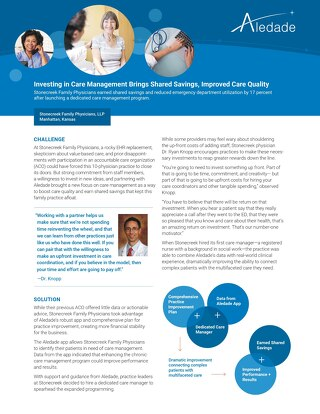 Investing in Care Management Brings Shared Savings, Improved Care Quality