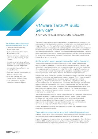 VMware Tanzu Build Service Solution Overview