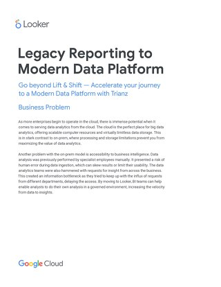 Legacy Reporting to Modern Data Platform