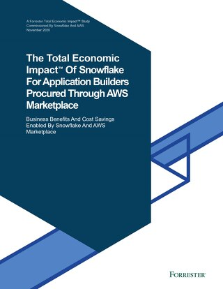 The Total Economic Impact™ Of Snowflake For Application Builders Procured Through AWS Marketplace