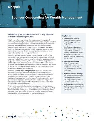 Solution Brief: Sponsor Onboarding for Wealth Management