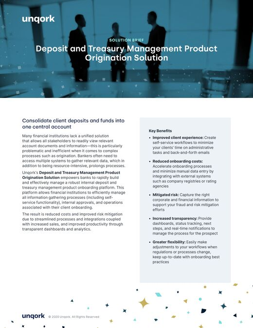 Solution Brief: Deposit and Treasury Management Product Origination Solution