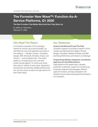 Forrester New Wave™: Function-As-A-Service Platforms, Q1 2020