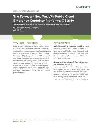 Forrester New Wave™: Public Cloud Enterprise Container Platforms, Q3 2019
