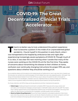 COVID19 The Great Decentralized Clinical Trials Accelerator