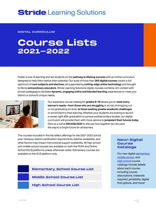 2020-21 PEAK Platform Course List