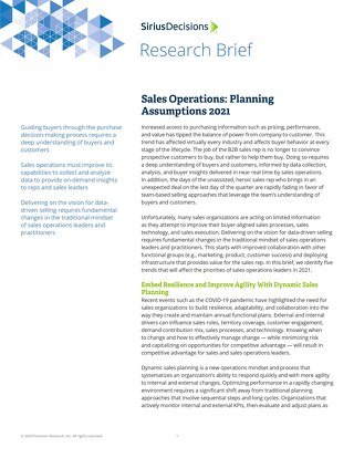 SiriusDecisions | Sales Operations: Planning Assumptions 2021