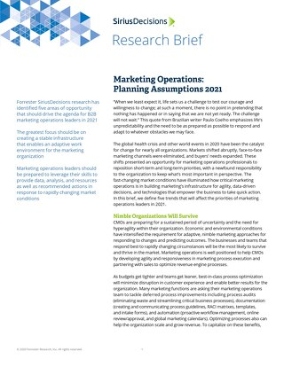 SiriusDecisions | Marketing Operations: Planning Assumptions 2021