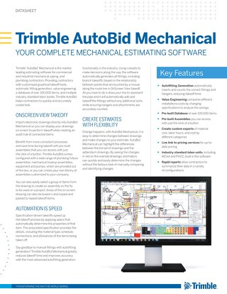 Trimble AutoBid Mechanical Datasheet