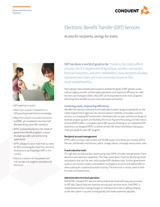Electronic Benefit Transfer (EBT) Services