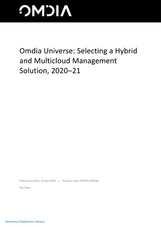OMDIA UNIVERSE - Selecting a Hybrid and Multicloud Management Solution 2020-21