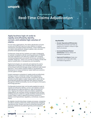 Solution Brief: Real-Time Claims Adjudication for Payers