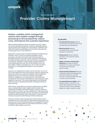 Solution Brief: Claims Management for Providers