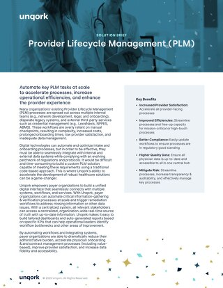 Solution Brief: Provider Lifecycle Management for Healthcare Payers