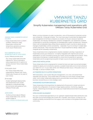 VMware Tanzu Kubernetes Grid Solution Overview