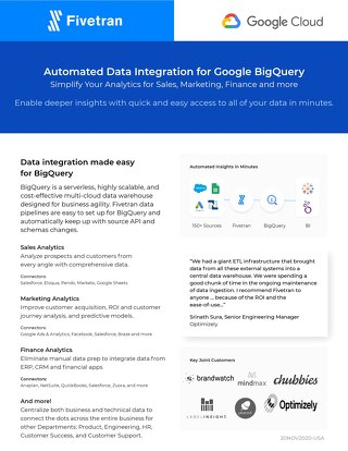 Fivetran for BigQuery Departmental Solutions