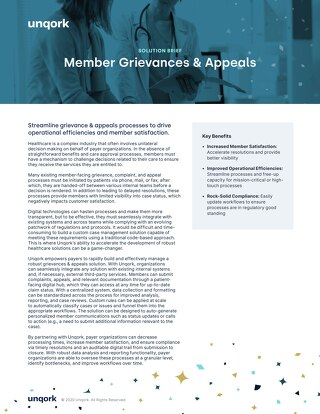 Solution Brief: Member Grievances & Appeals for Payers