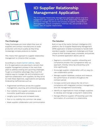 ICI Supplier Relationship Management