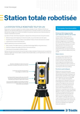 Trimble SPSX20 Robotic Total Station Datasheet - French