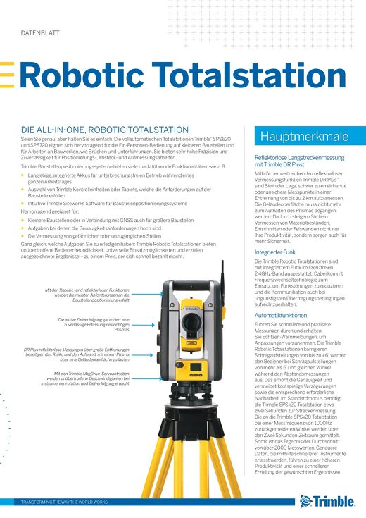 Trimble SPS620 and SPS720 Robotic Total Station Datasheet -German