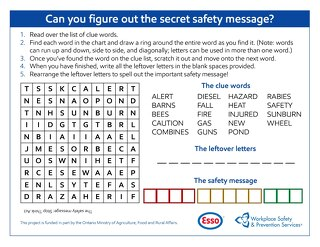 Farm Safety: Can you figure out the secret safety message?