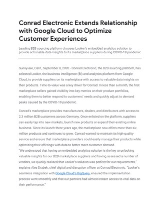 Conrad Electronic Extends Relationship with Google Cloud to Optimize Customer Experiences