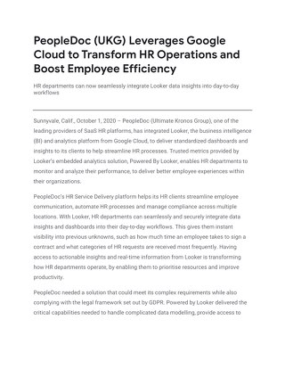 PeopleDoc (UKG) Leverages Google Cloud to Transform HR Operations and Boost Employee Efficiency
