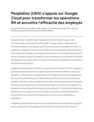 PeopleDoc (UKG) s'appuie sur Google Cloud pour transformer les opérations RH et accroître l'efficacité des employés
