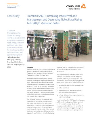 Transilien SNCF: Increasing traveler volume management and decreasing ticket fraud using MT-CAB 3D Validation Gates
