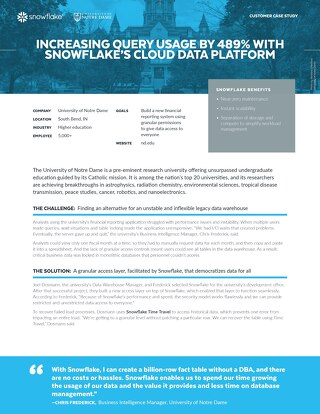 University of Notre Dame: Increasing Query Usage by 489% with Snowflake's Cloud Data Platform