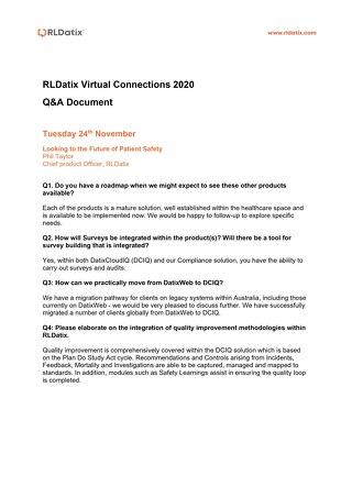 RLDatix Virtual Connections 2020 Q&A