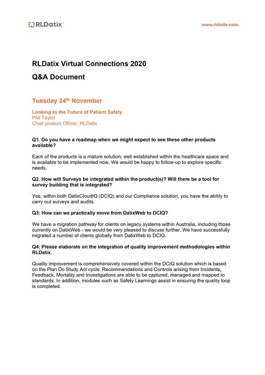 RLDatix Virtual Connections 2020 Q&A