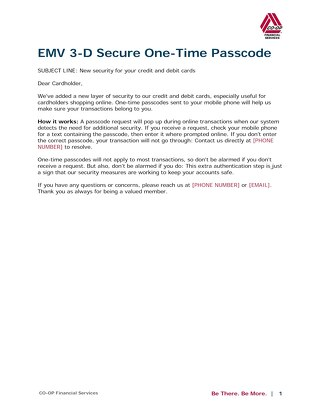 EMV 3-D Secure One-Time Passcode_Member Email Copy