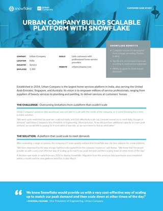 Urban Company Builds Scalable Platform with Snowflake