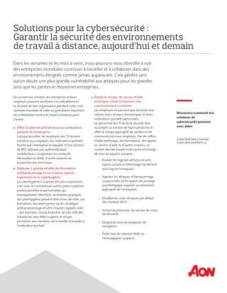Solutions pour la cybersécurité : Garantir la sécurité des environnements de travail à distance, aujourd'hui et demain