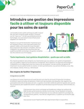 PaperCut Healthcare Ease of Use Flyer en Français