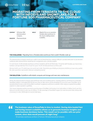 Migrating from Teradata to the Cloud with Infosys and Snowflake for a Fortune 500 Pharmaceutical Company