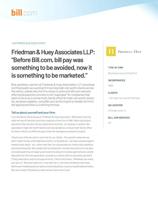 How Friedman+Huey transformed their high net worth offering with bill pay