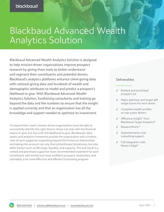 Advanced Wealth Analytics Datasheet