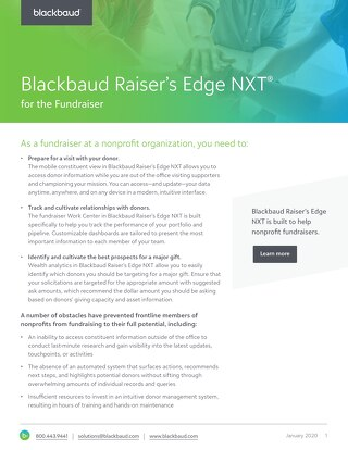 Raiser's Edge NXT for the Fundraiser