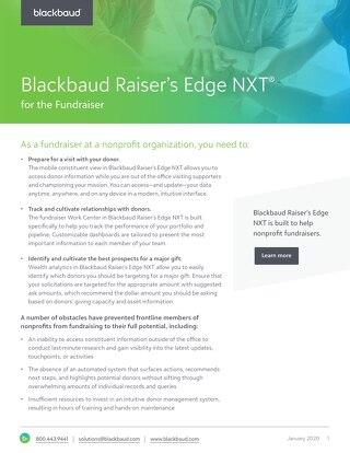 Raiser's Edge NXT for the Fundraiser