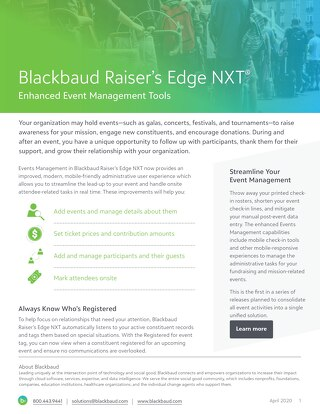 Raiser's Edge NXT Events Datasheet