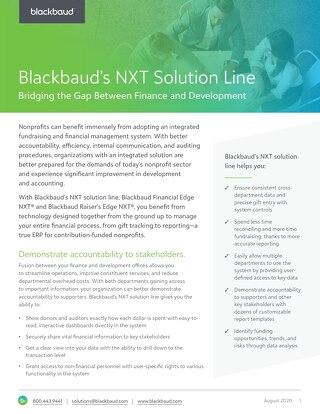 Blackbaud Financial Edge NXT and Blackbaud Raiser's Edge NXT Datasheet