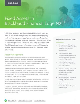 Fixed Assets in Blackbaud Financial Edge NXT