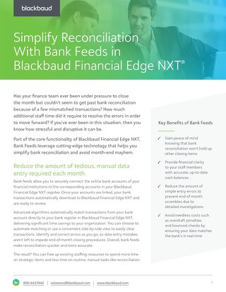 Bank Feeds in Blackbaud Financial Edge NXT