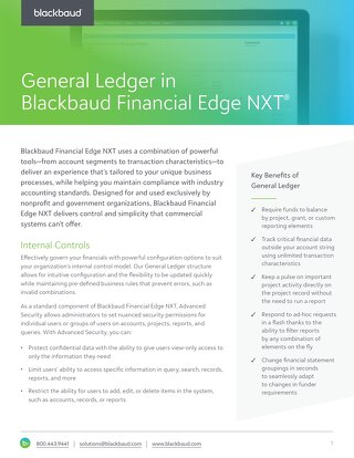 General Ledger in Blackbaud Financial Edge NXT
