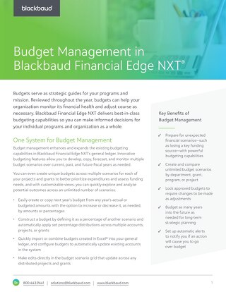 Budget Management in Blackbaud Financial Edge NXT